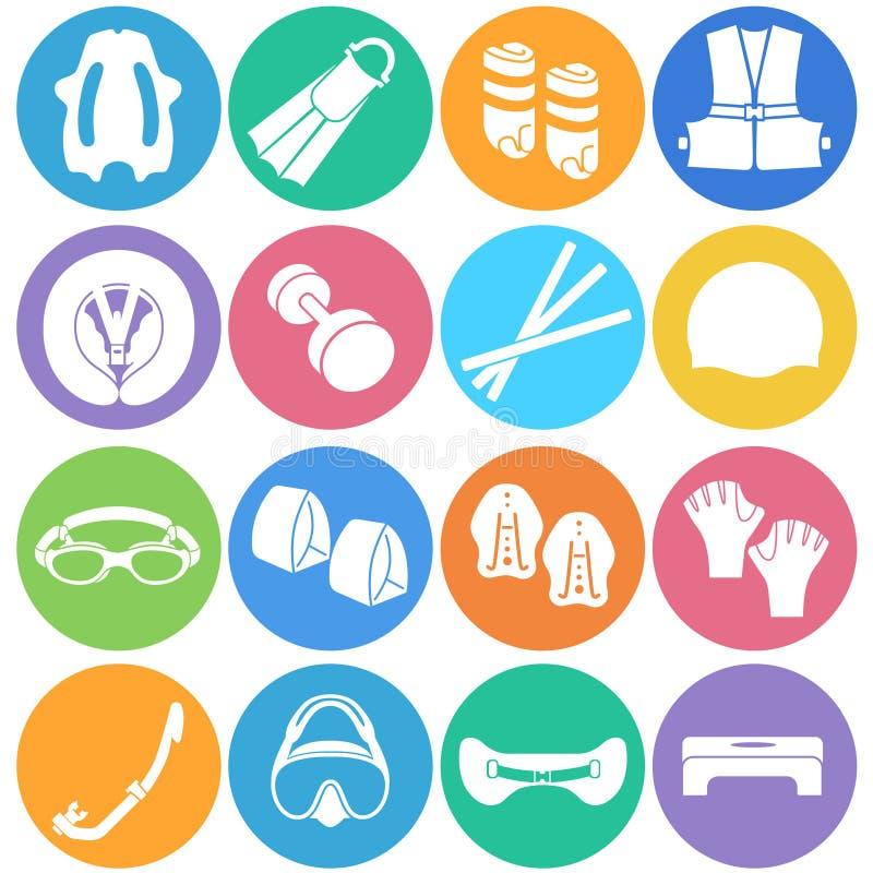 Διαφορετικοί τύποι εξαρτημάτων για την κολύμβηση ως εικονίδια ελεύθερη απεικόνιση δικαιώματος