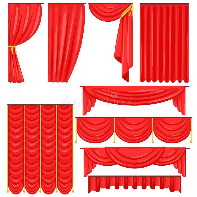 Διαφορετικοί τύποι θεατρικών σκηνικών κουρτινών και Drapes στην κόκκινη Velour διανυσματική συλλογή διανυσματική απεικόνιση