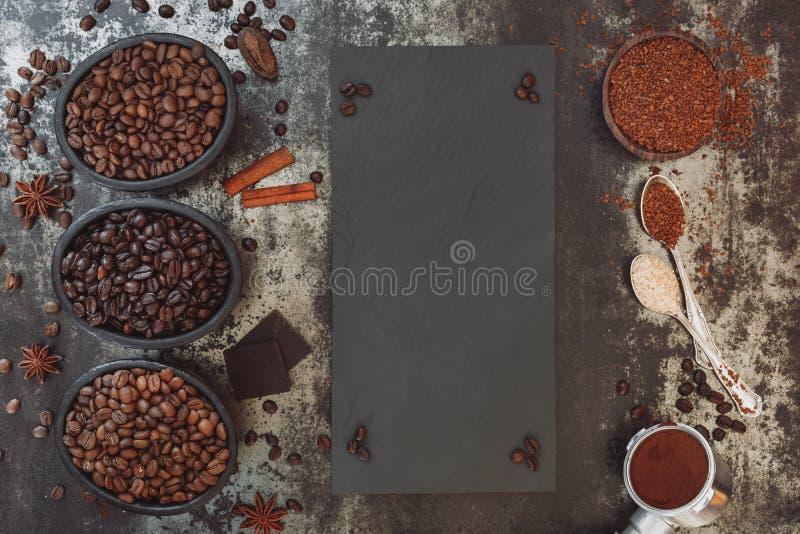 Διαφορετικοί τύποι καφέδων στοκ φωτογραφία