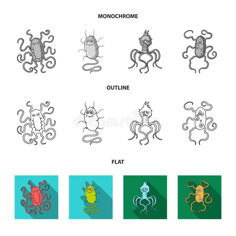 Διαφορετικοί τύποι μικροβίων και ιών Οι ιοί και τα βακτηρίδια καθορισμένοι τα εικονίδια συλλογής στο επίπεδο, περιγράφουν, μονοχρ διανυσματική απεικόνιση