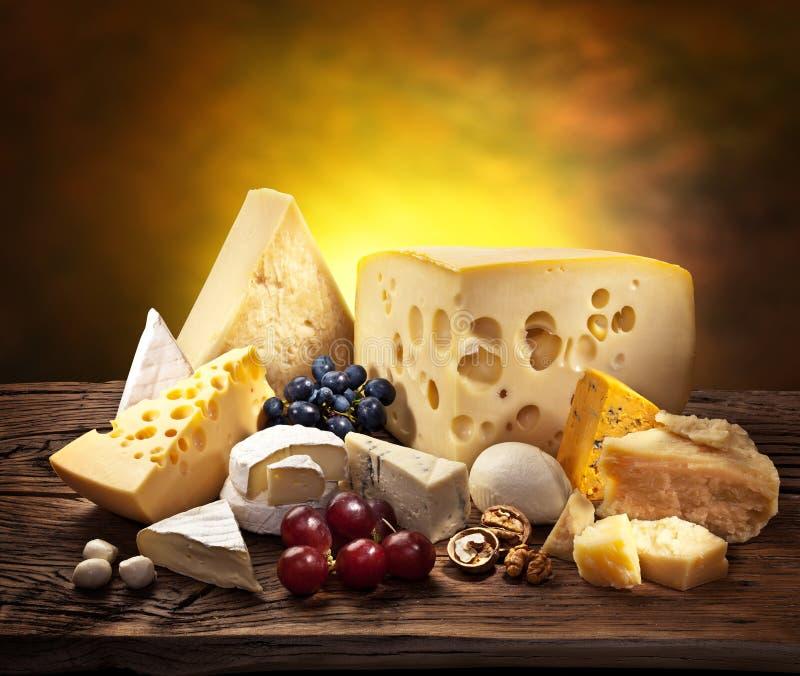 Διαφορετικοί τύποι τυριών πέρα από το παλαιό ξύλο. στοκ φωτογραφία