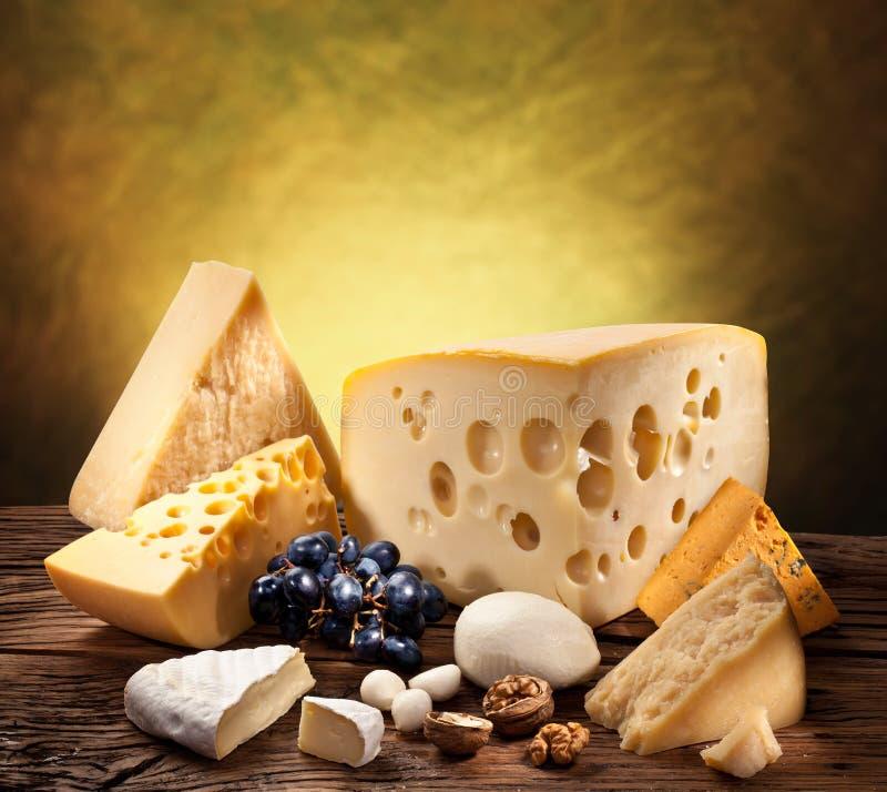 Διαφορετικοί τύποι τυριών στο παλαιό ξύλο. στοκ φωτογραφία με δικαίωμα ελεύθερης χρήσης