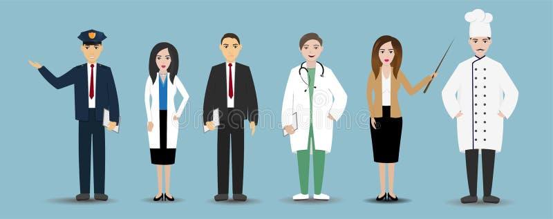 Διαφορετικοί υπάλληλοι επαγγελμάτων ανδρών και γυναικών σε ομοιόμορφο, ομάδα εργαζομένων, καθορισμένα κινούμενα σχέδια επαγγέλματ ελεύθερη απεικόνιση δικαιώματος