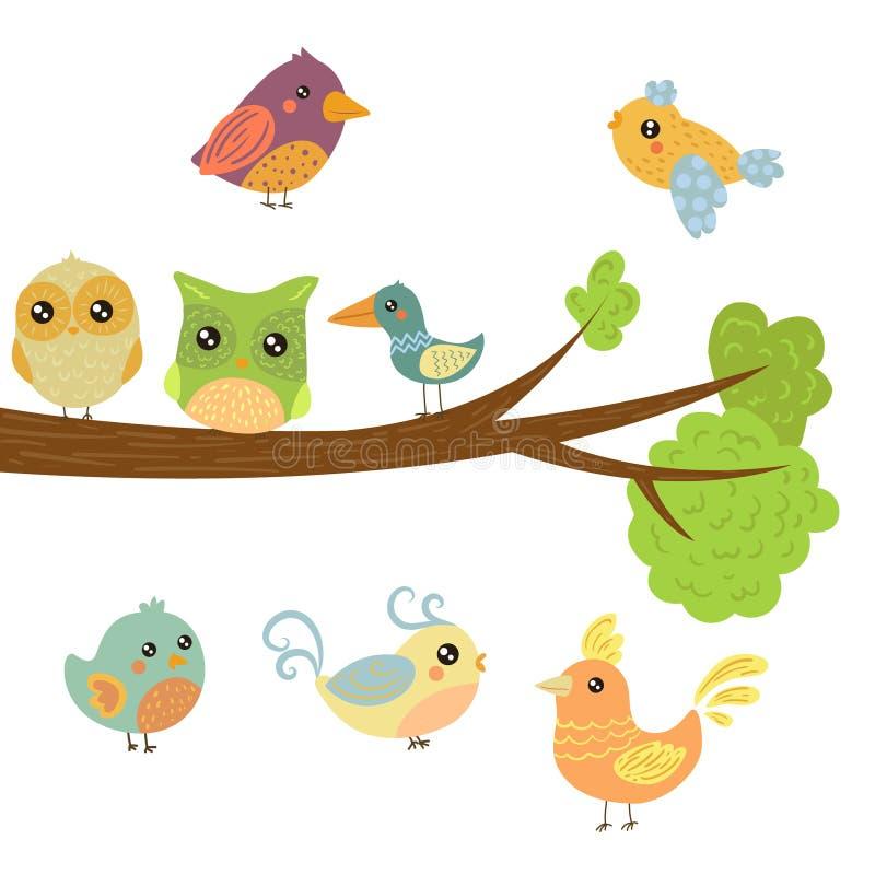 Διαφορετικοί χαριτωμένοι νεοσσοί πουλιών που κάθονται και που πετούν γύρω από τον κλάδο δέντρων διανυσματική απεικόνιση