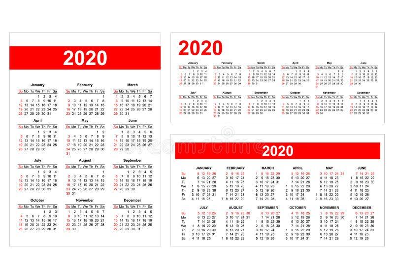 Διαφορετικό αμερικανικό ημερολογιακό πλέγμα σχήματος για το 2020 διανυσματική απεικόνιση