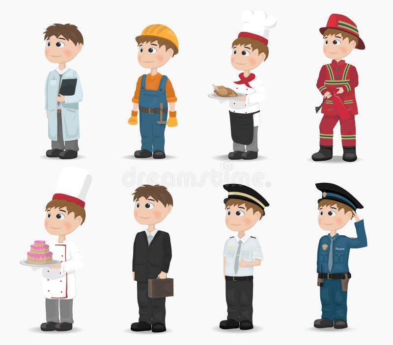 Διαφορετικό διάνυσμα επαγγελμάτων ατόμων Πυροσβέστης, αστυνομικός, κατασκευαστής, γιατρός, μάγειρας, πειραματικός ζωηρόχρωμη γραφ απεικόνιση αποθεμάτων