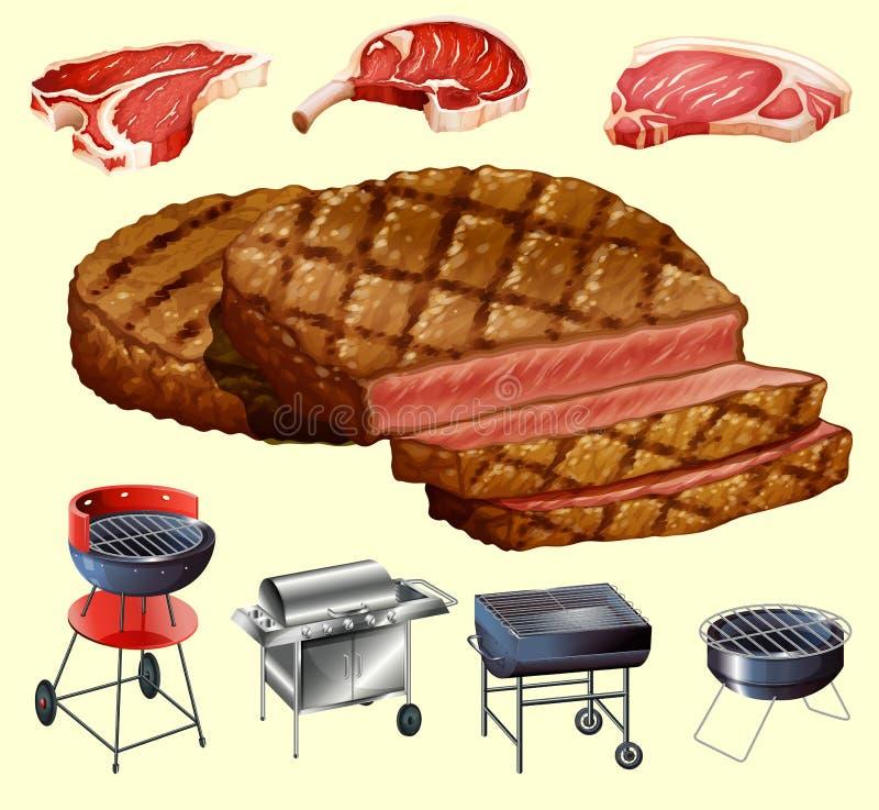 Διαφορετικό είδος εξοπλισμού κρέατος και σχαρών διανυσματική απεικόνιση