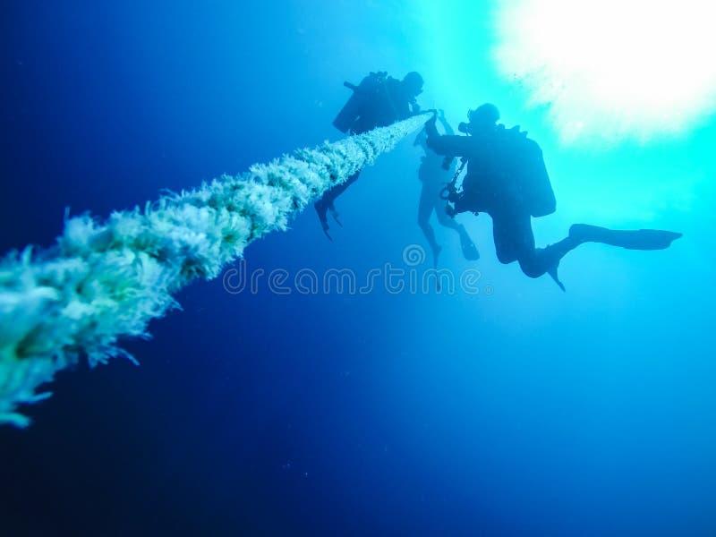 Διαφορετικό κατέβασμα σκαφάνδρων κρατώντας ένα σχοινί σε ένα ναυάγιο στο κόκκινο στοκ εικόνες