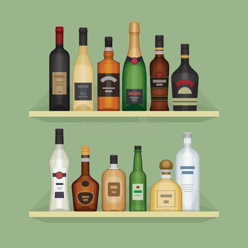 Διαφορετικό μπουκάλι οινοπνεύματος στο ράφι Ποτά οινοπνεύματος ελεύθερη απεικόνιση δικαιώματος