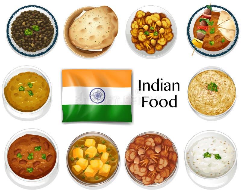 Διαφορετικό πιάτο των ινδικών τροφίμων απεικόνιση αποθεμάτων