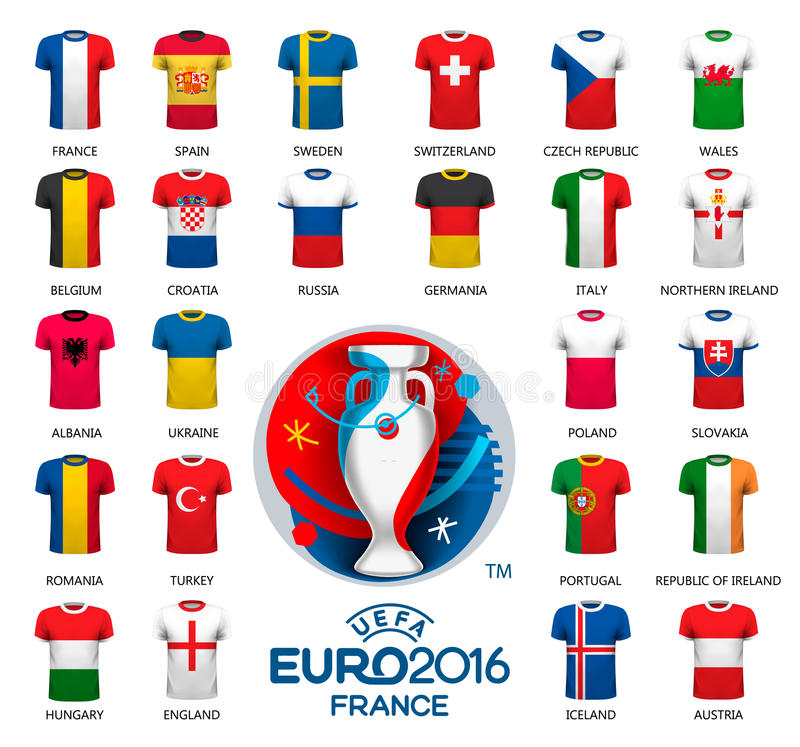 Διαφορετικό ποδόσφαιρο σημαιών jerseys Πρωτάθλημα ποδοσφαίρου απεικόνιση αποθεμάτων