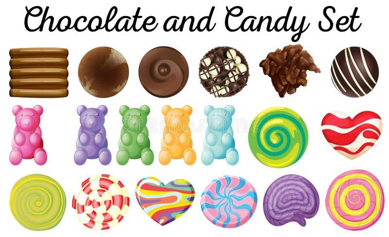 Διαφορετικό σχέδιο του συνόλου σοκολάτας και καραμελών απεικόνιση αποθεμάτων