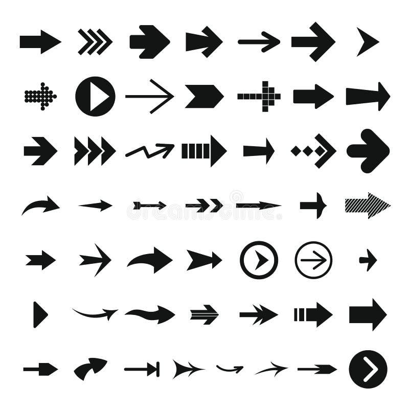 Διαφορετικό σύνολο εικονιδίων βελών, απλό ύφος απεικόνιση αποθεμάτων