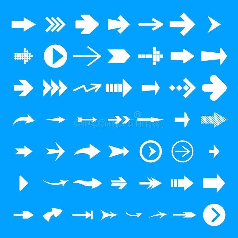 Διαφορετικό σύνολο εικονιδίων βελών, απλό ύφος διανυσματική απεικόνιση