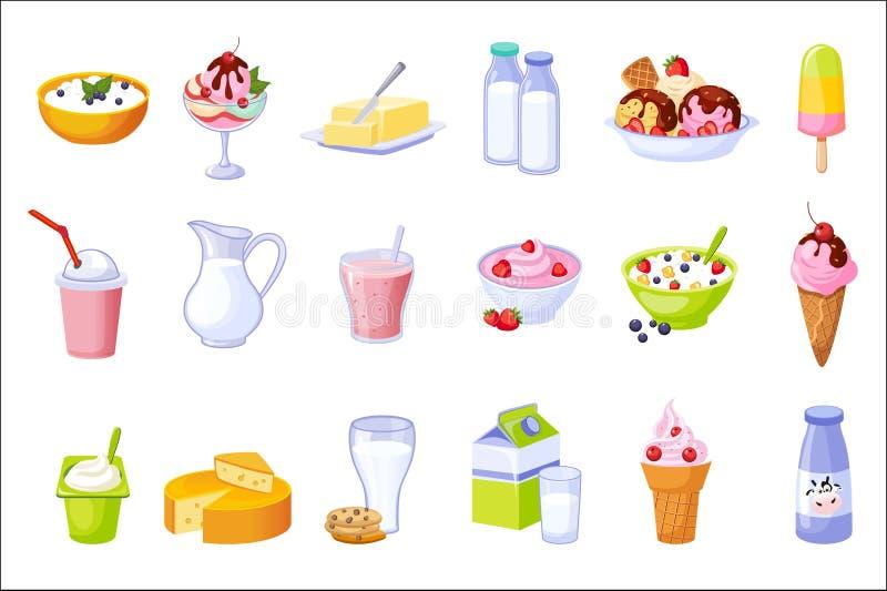 Διαφορετικό σύνολο κατατάξεων γαλακτοκομικών προϊόντων απομονωμένων εικονιδίων ελεύθερη απεικόνιση δικαιώματος