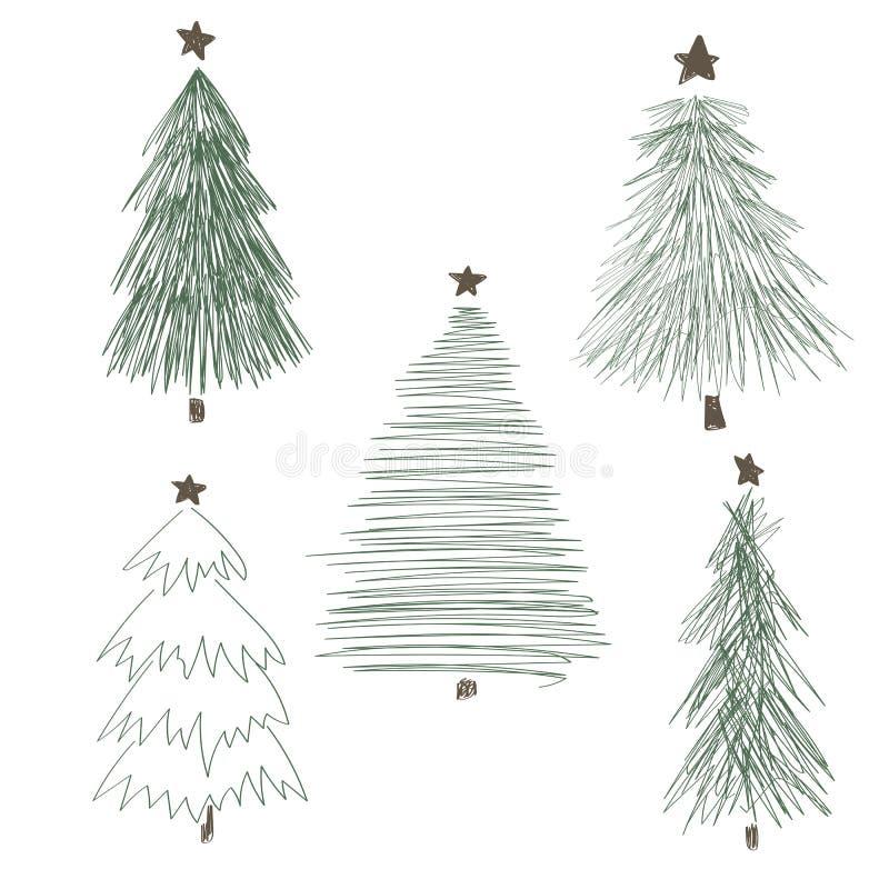Διαφορετικό σύνολο χριστουγεννιάτικων δέντρων, διανυσματική απεικόνιση διανυσματική απεικόνιση