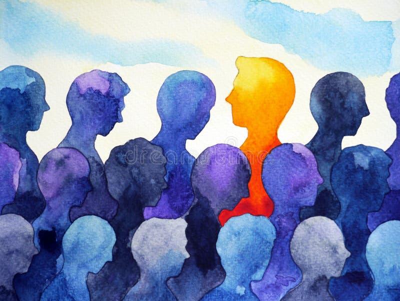 Διαφορετικό φωτεινό ανθρώπινο σχέδιο ζωγραφικής watercolor αντίθεσης ελεύθερη απεικόνιση δικαιώματος