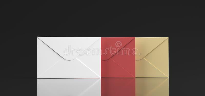 Διαφορετικό χρώμα επιστολών ταχυδρομείου ελεύθερη απεικόνιση δικαιώματος