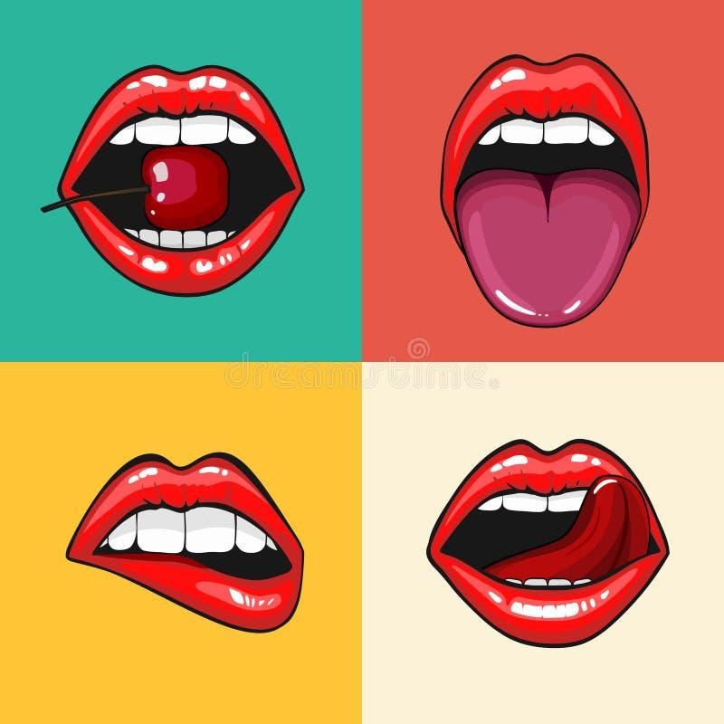 Διαφορετικό women& x27 σύνολο χειλικών εικονιδίων του s που απομονώνεται διανυσματικό από το υπόβαθρο Τα κόκκινα χείλια κλείνουν  απεικόνιση αποθεμάτων