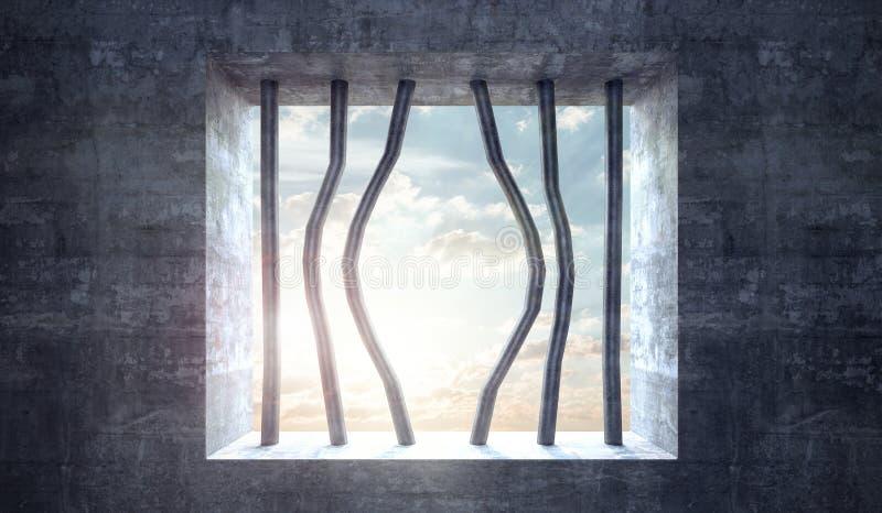 Διαφυγή από το φραγμένο γούρνα παράθυρο φυλακών απεικόνιση αποθεμάτων