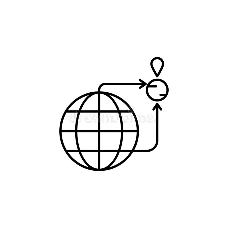 διαφυγή, εικονίδιο μετανάστευσης Στοιχείο του κοινωνικών προβλήματος και του εικονιδίου προσφύγων Λεπτό εικονίδιο γραμμών για το  διανυσματική απεικόνιση