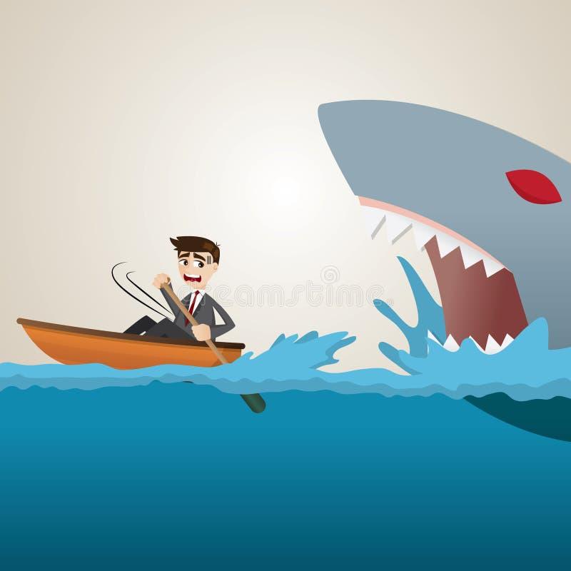 Διαφυγή κωπηλασίας επιχειρηματιών κινούμενων σχεδίων από τον καρχαρία ελεύθερη απεικόνιση δικαιώματος