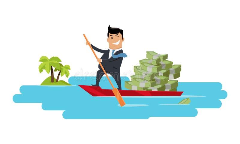 Διαφυγή με το επίπεδο διάνυσμα σχεδίου έννοιας χρημάτων απεικόνιση αποθεμάτων