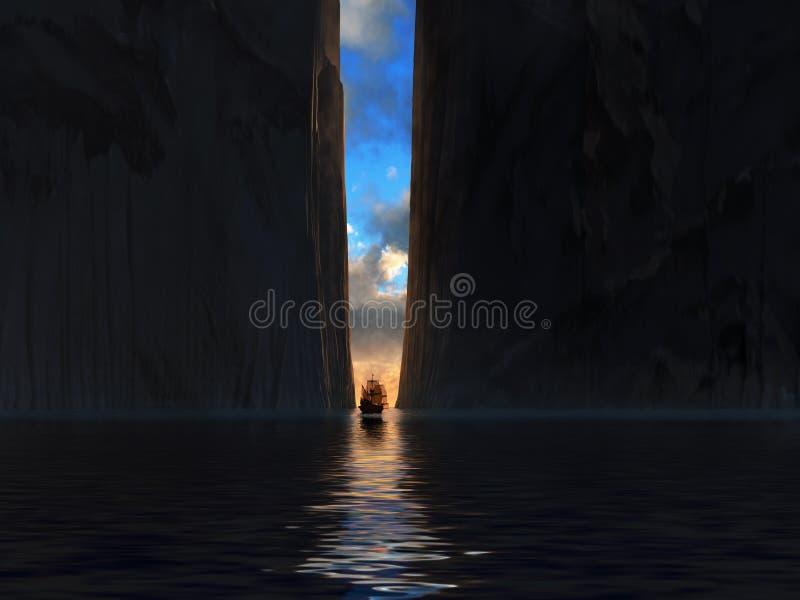 Διαφυγή σκαφών από το σκοτάδι διανυσματική απεικόνιση