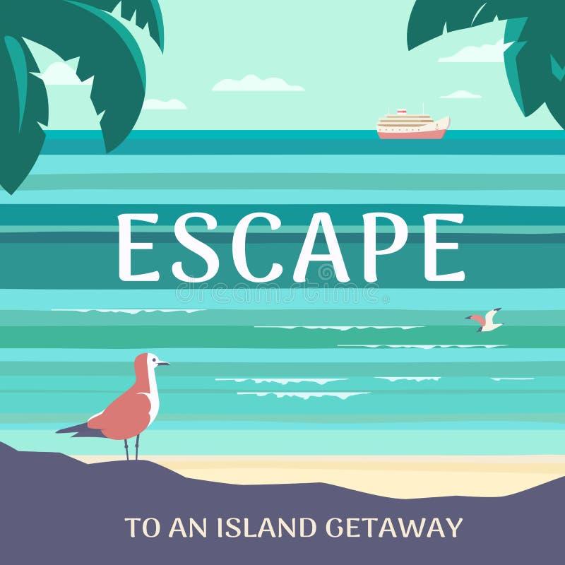 Διαφυγή στην τυπογραφική διανυσματική αφίσα φυγής νησιών ελεύθερη απεικόνιση δικαιώματος