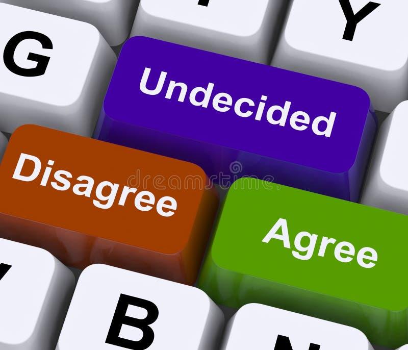 Διαφωνήστε συμφωνεί με τα αναποφάσιστα κλειδιά για τη σε απευθείας σύνδεση ψηφοφορία στοκ εικόνες