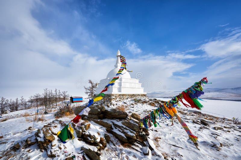 Διαφωτισμός Stupa Νησί Ogoy baikal λίμνη στοκ εικόνα