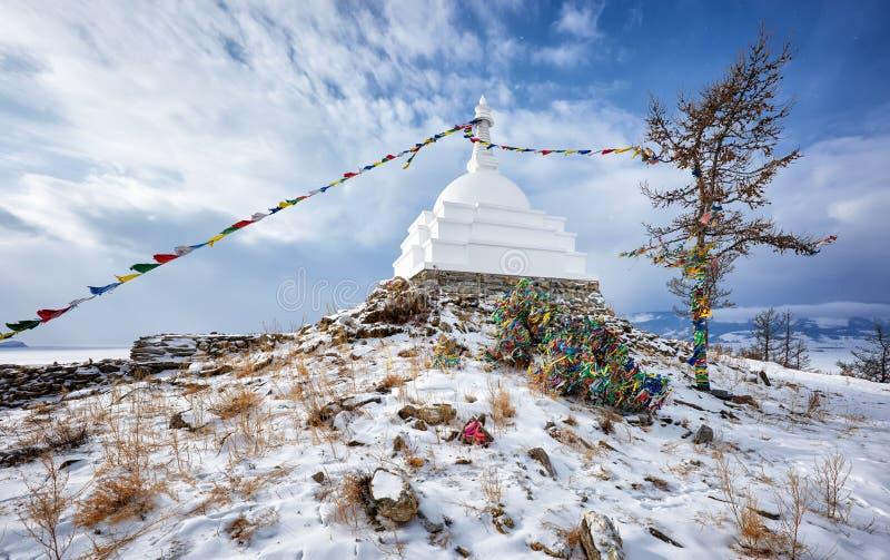 Διαφωτισμός Stupa Νησί Ogoy baikal λίμνη στοκ φωτογραφία με δικαίωμα ελεύθερης χρήσης