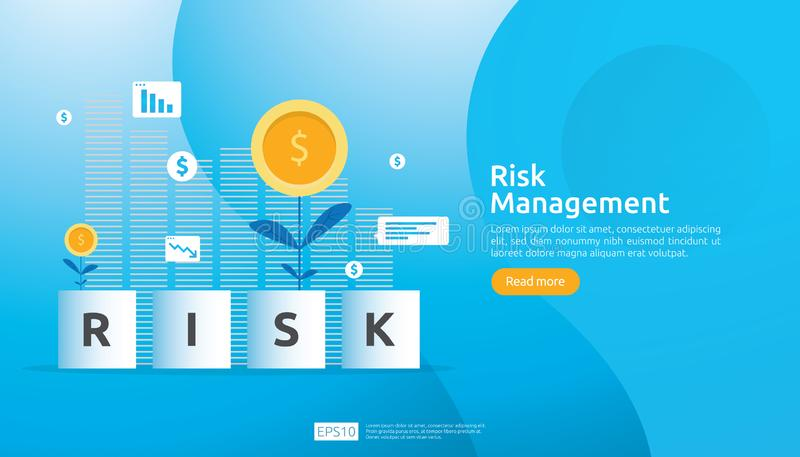 Διαχείρηση κινδύνων και οικονομικός προσδιορισμός η αξιολόγηση και η πρόκληση στην επιχείρηση αποτρέπουν προστατεύουν ανάλυση από διανυσματική απεικόνιση