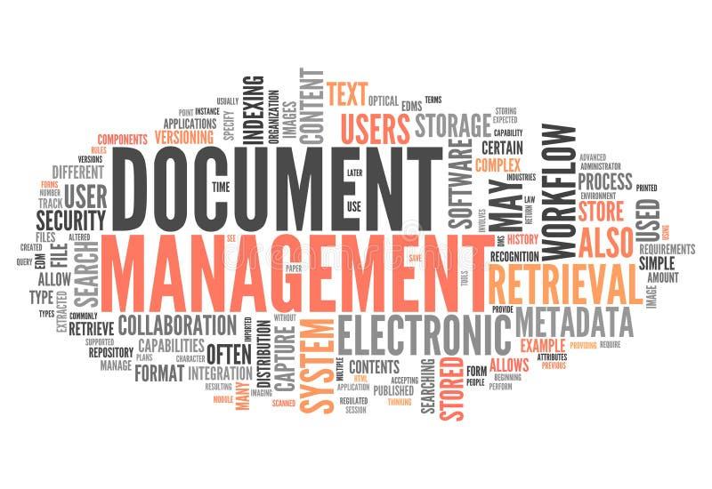 Διαχείριση εγγράφων σύννεφων λέξης ελεύθερη απεικόνιση δικαιώματος
