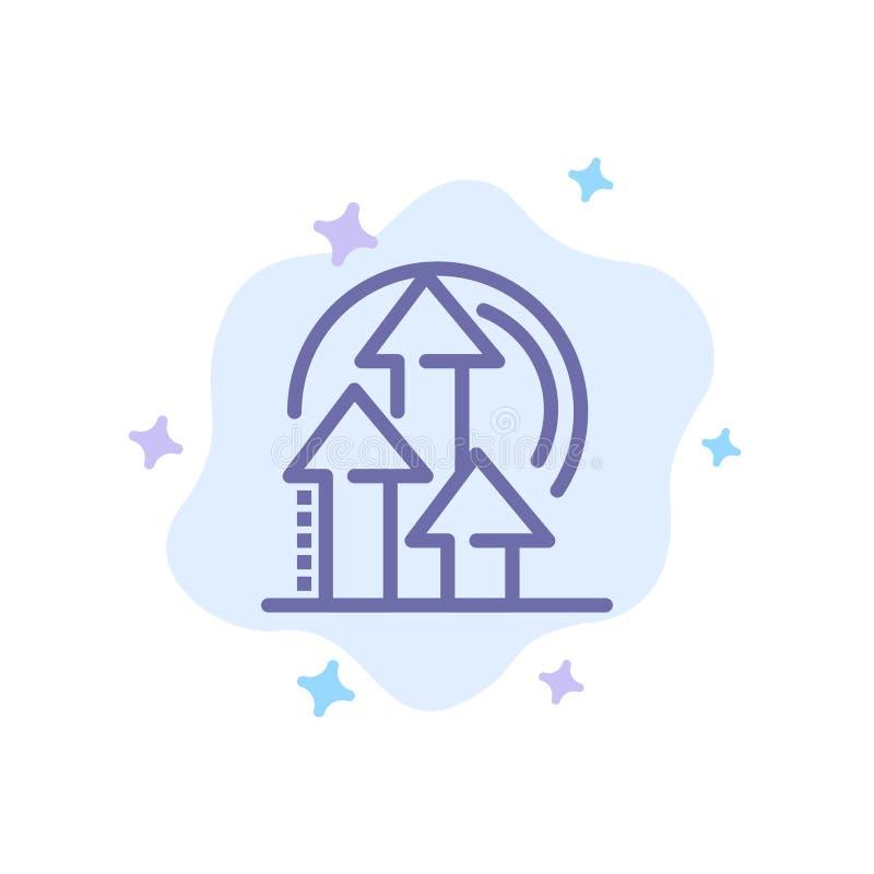 Διαχείριση, μέθοδος, απόδοση, μπλε εικονίδιο προϊόντων στο αφηρημένο υπόβαθρο σύννεφων απεικόνιση αποθεμάτων