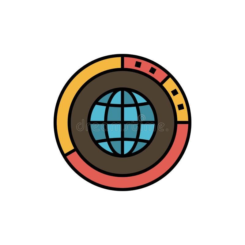 Διαχείριση, στοιχεία, σφαιρικά, σφαίρα, πόροι, στατιστικές, εικονίδιο παγκόσμιου επίπεδο χρώματος Διανυσματικό πρότυπο εμβλημάτων διανυσματική απεικόνιση