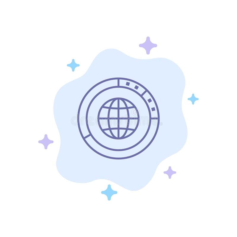 Διαχείριση, στοιχεία, σφαιρικά, σφαίρα, πόροι, στατιστικές, παγκόσμιο μπλε εικονίδιο στο αφηρημένο υπόβαθρο σύννεφων απεικόνιση αποθεμάτων