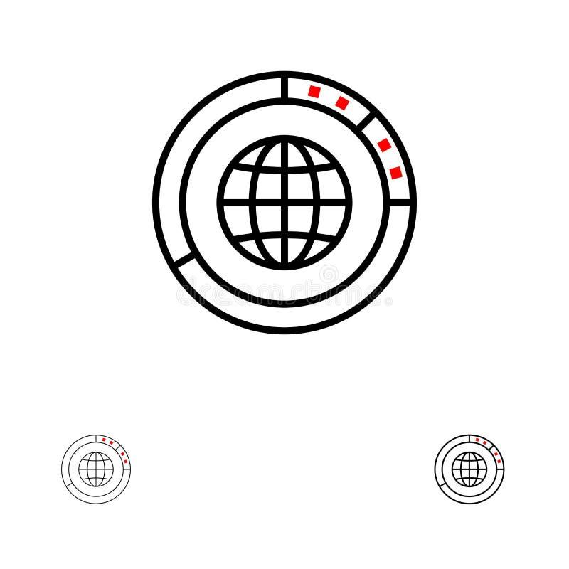 Διαχείριση, στοιχεία, σφαιρικός, σφαίρα, πόροι, στατιστικές, σύνολο εικονιδίων παγκόσμιων τολμηρό και λεπτό μαύρο γραμμών ελεύθερη απεικόνιση δικαιώματος