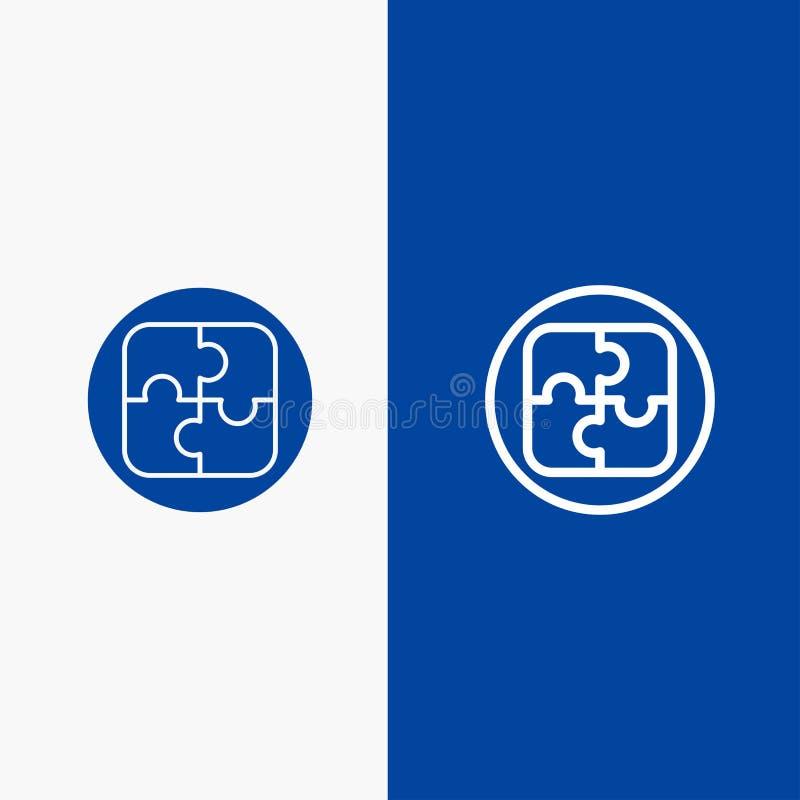 Διαχείριση, σχέδιο, προγραμματισμός, γραμμή λύσης και στερεά γραμμή εμβλημάτων εικονιδίων Glyph μπλε και στερεό μπλε έμβλημα εικο ελεύθερη απεικόνιση δικαιώματος
