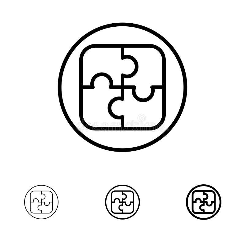 Διαχείριση, σχέδιο, προγραμματισμός, τολμηρό και λεπτό μαύρο σύνολο εικονιδίων γραμμών λύσης διανυσματική απεικόνιση