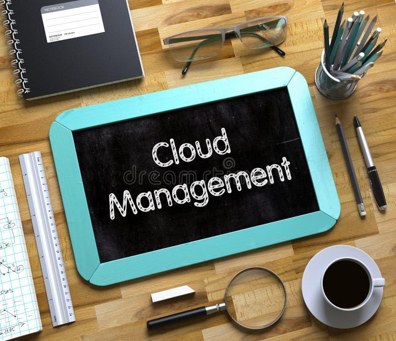 Διαχείριση σύννεφων στο μικρό πίνακα κιμωλίας τρισδιάστατος στοκ εικόνα με δικαίωμα ελεύθερης χρήσης
