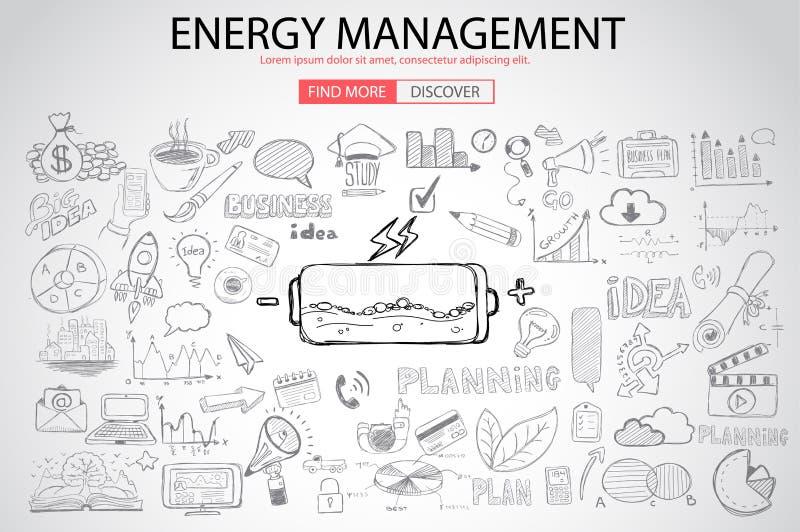 Διαχείριση της ενέργειας με το ύφος σχεδίου Doodle διανυσματική απεικόνιση