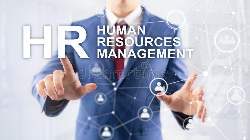 Διαχείριση του ανθρώπινου δυναμικού, ωρ., χτίσιμο ομάδας και έννοια στρατολόγησης στο θολωμένο υπόβαθρο απεικόνιση αποθεμάτων