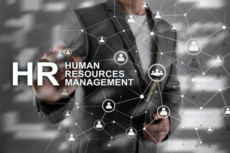 Διαχείριση του ανθρώπινου δυναμικού, ωρ., χτίσιμο ομάδας και έννοια στρατολόγησης στο θολωμένο υπόβαθρο ελεύθερη απεικόνιση δικαιώματος