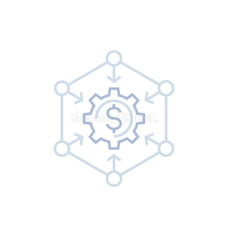 Διαχείριση χρημάτων, εικονίδιο γραμμών χρηματοπιστωτικών υπηρεσιών ελεύθερη απεικόνιση δικαιώματος