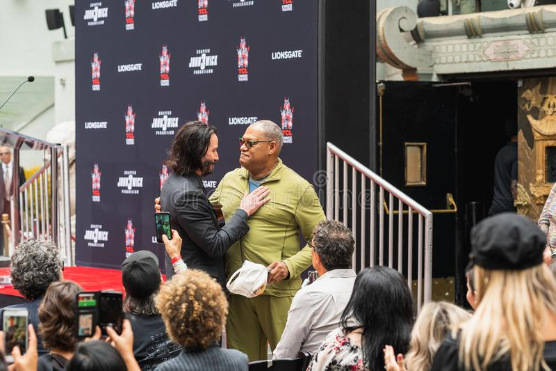 Διαχειριστές και Laurence Fishburne, γεγονός του Keanu λεωφόρων Hollywood στοκ εικόνες