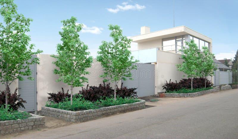 Διαχωριστική γραμμή ιδιοκτησίας και driveway beautification, τρισδιάστατη απόδοση απεικόνιση αποθεμάτων