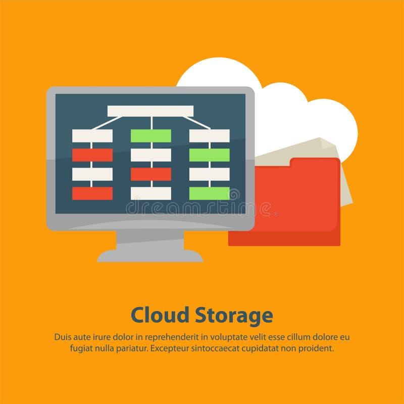 Διαδίκτυο αρχειοθετεί το σε απευθείας σύνδεση διανυσματικό επίπεδο σχέδιο τεχνολογίας αποθήκευσης σύννεφων διανυσματική απεικόνιση