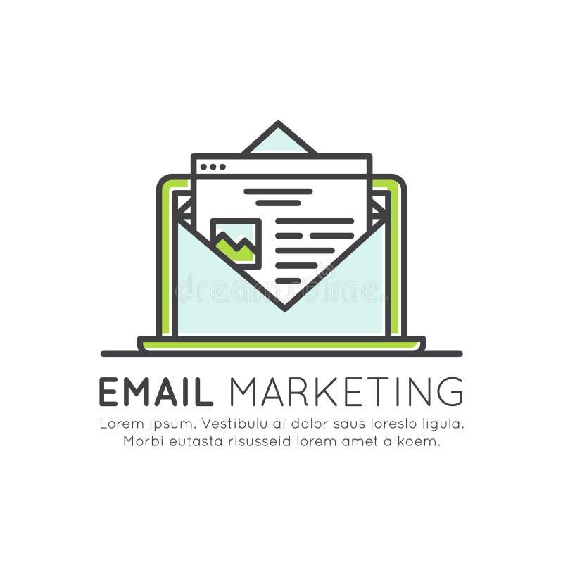 Διαδίκτυο και μάρκετινγκ και προώθησης ηλεκτρονικού ταχυδρομείου διαδικασία που στέλνει τις επιστολές στους χρήστες, SMM απεικόνιση αποθεμάτων