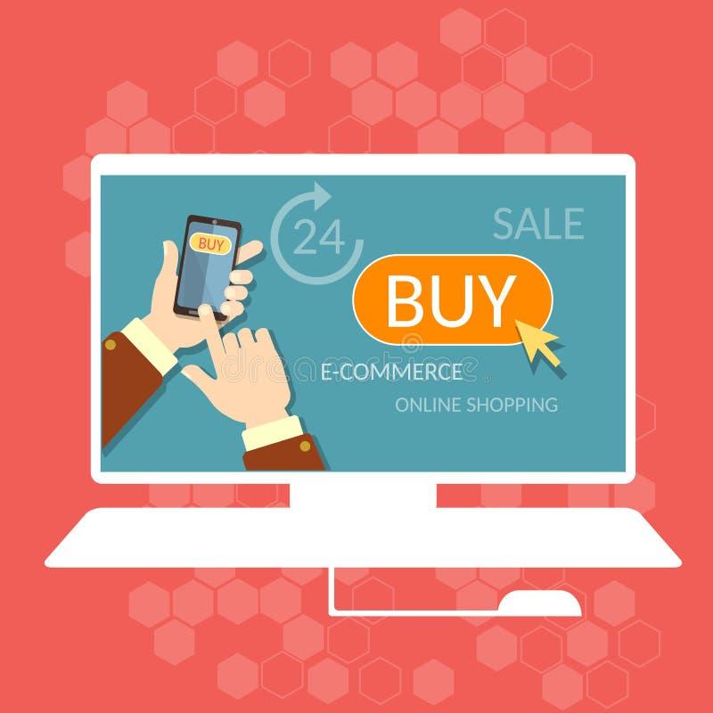 Διαδίκτυο που ψωνίζει αγοράζει τώρα τη σε απευθείας σύνδεση διαδικασία ηλεκτρονικού εμπορίου καταστημάτων διανυσματική απεικόνιση